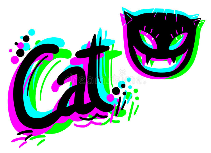 Download Colorful artistic cat stock vector. Image of poster, composition - 27311159