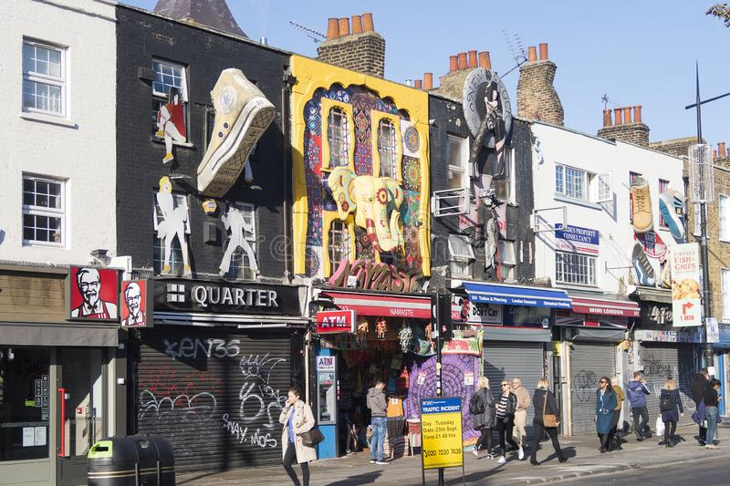 Colorful, artistic facades of a street in Camden Town, close to Camden martket, famous for the market and alternative shops stock photography