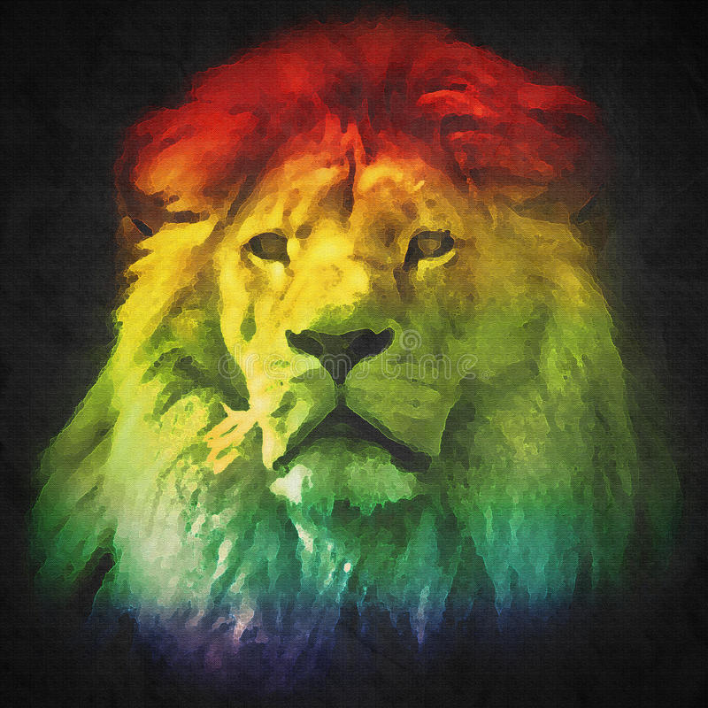 Colorful, artistic portrait of a lion on black royalty free illustration