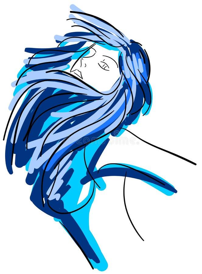 Colorful artistic woman face portrait stock illustration