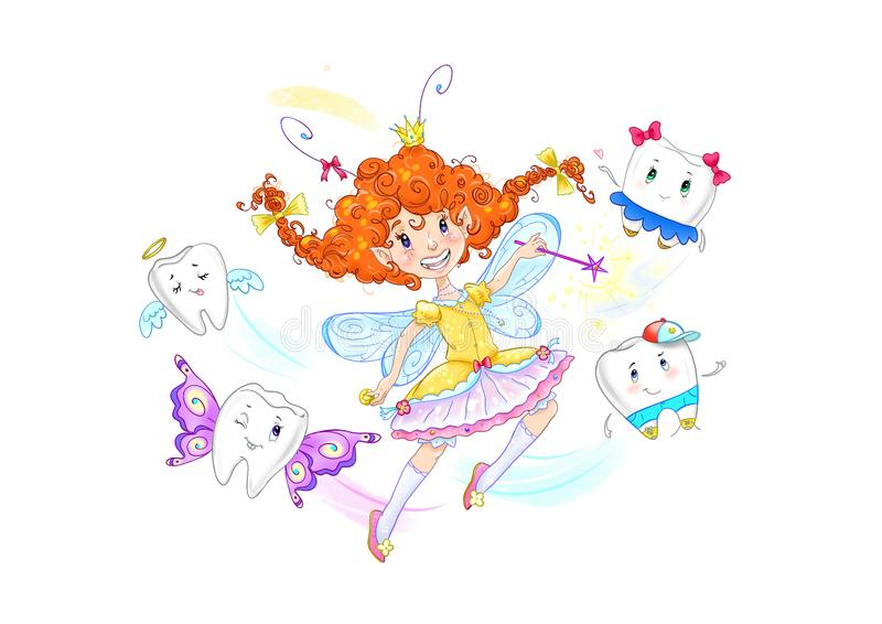 Funny cartoon tooth fairy on a white background royalty free illustration