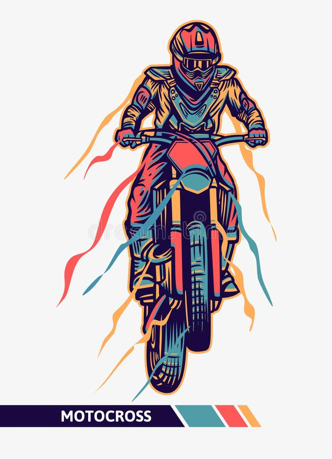 Colorful artwork motocross illustration jump with motion graphic extreme sport stock image