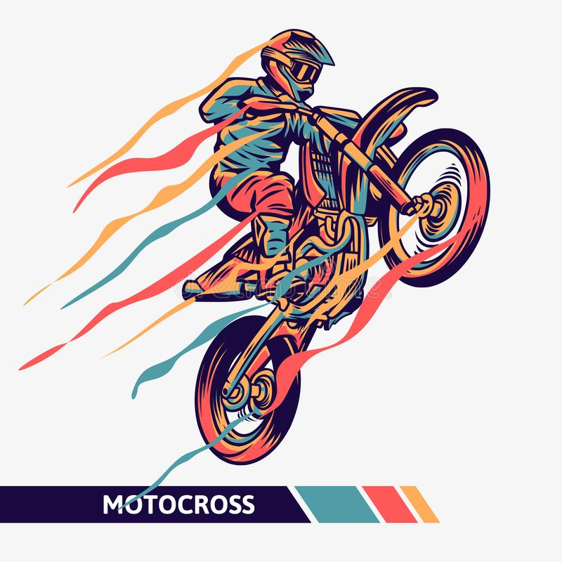 Colorful artwork motocross illustration with motion fast extreme sport stock photography