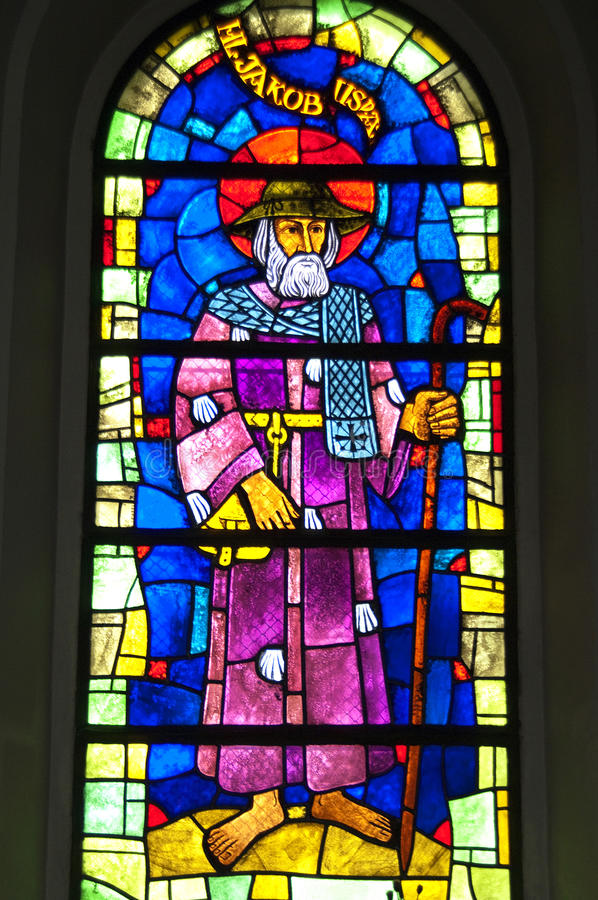 Colorful artwork of Saint James, stained-glass window. Switzerland, the hamlet Kaltenbrunn, village Affeltrangen in the Swiss canton of Thurgau, In this place royalty free stock photography