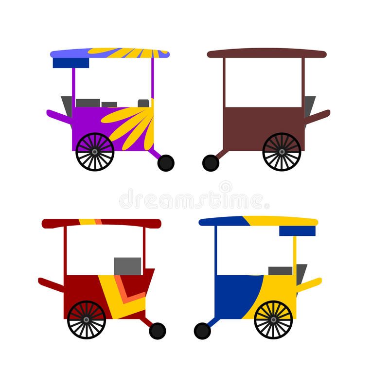 Colorful Asian street food carts collection vector illustration