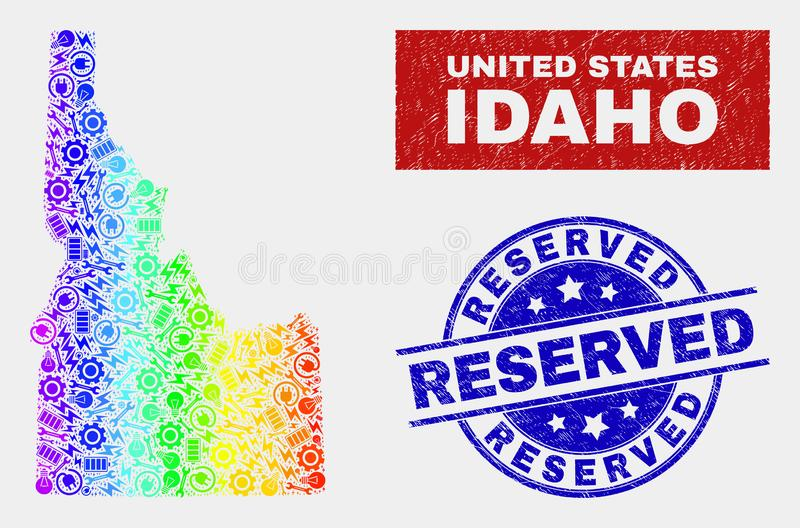 Colorful Assemble Idaho State Map and Grunge Reserved Seals vector illustration