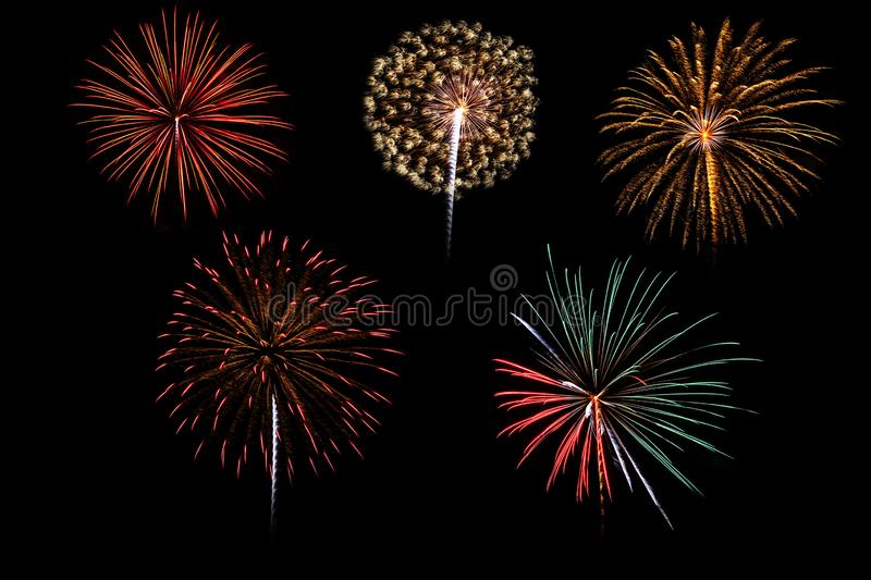 Colorful assorted fireworks selection on a black background royalty free stock images
