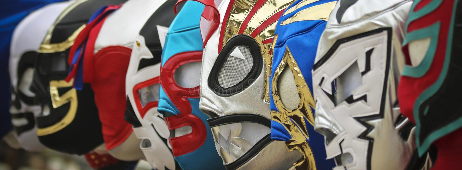 A Line of Lucha Libre Luchador Masks. A Colorful Assortment of Lucha Libre Luchador Masks royalty free stock photos