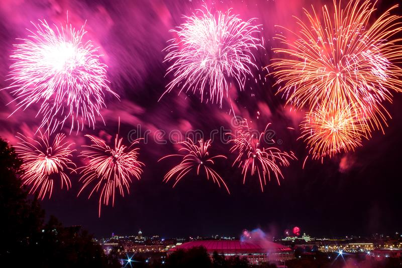Colorful atmospheric fireworks in honor of the Victory Day of the Soviet Union in World War II stock photos
