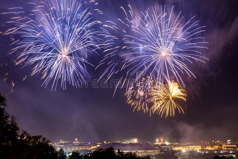 Colorful atmospheric fireworks in honor of the Victory Day of the Soviet Union in World War II stock photo