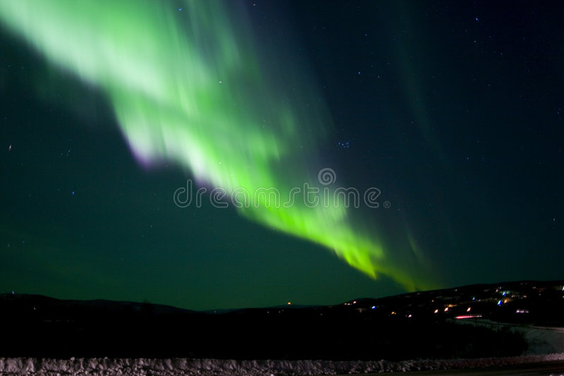 Colorful Aurora band. Colorful band of northern lights stock photos