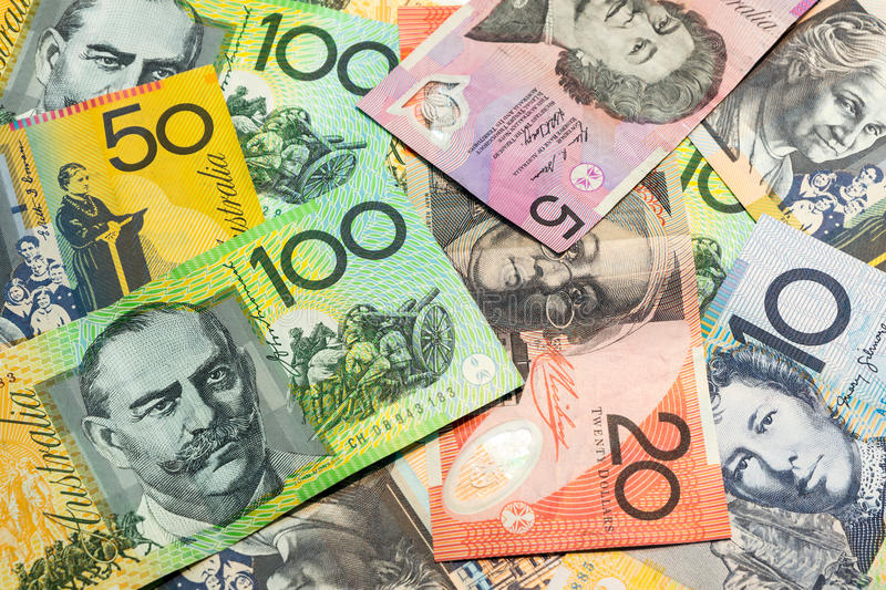 Colorful of Australian dollars background. Colorful of Australian dollars money background stock image
