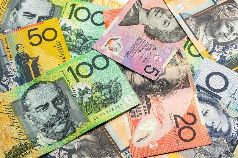 Colorful of Australian dollars background. Colorful of Australian dollars money background stock photo
