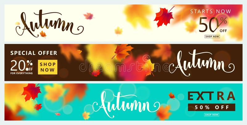 Colorful autumn banner set. Fall sale background with bright maple leaves. Light effect, season type lettering text sign 50 percent, 20 Off. Vector vector illustration