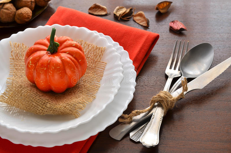 Colorful autumn decoration for festive dinner. stock photo