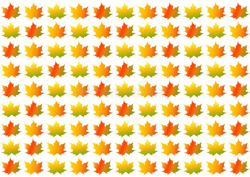 Colorful autumn/fall leaves on white background. In landscape format vector illustration