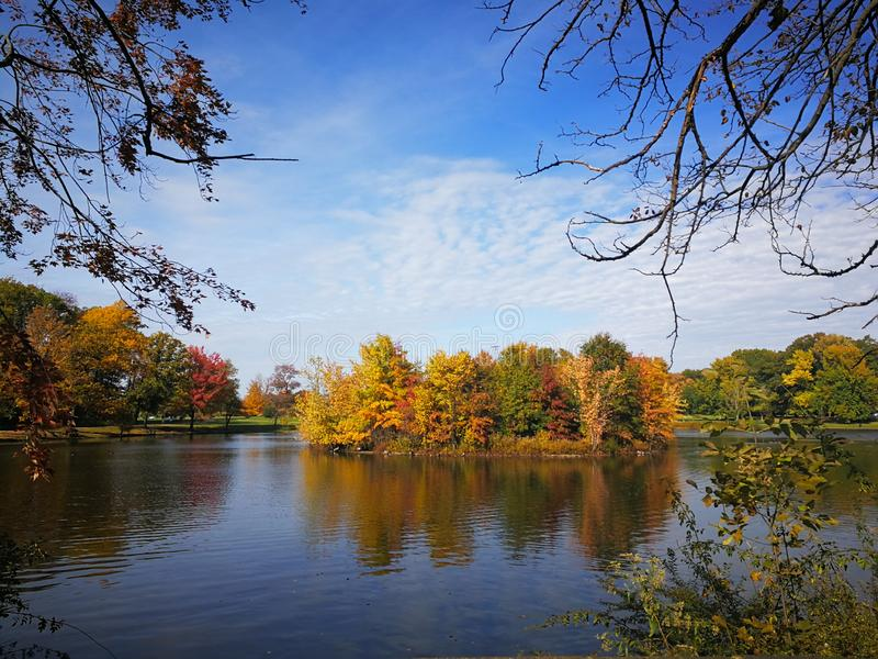 Colorful Autumn forest reflected in calm lake with beautiful white clouds in bright blue sky royalty free stock images