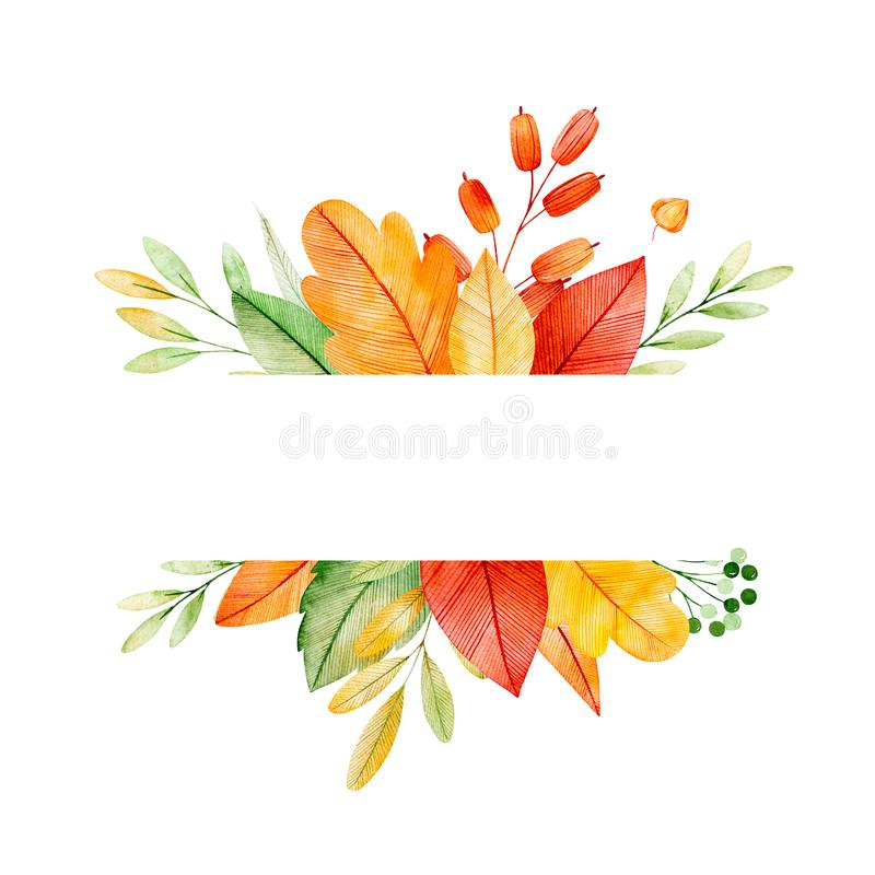 Colorful autumn frame with bright fall leaves. My Lovely Autumn collection.Perfect for wedding,frame,quotes,pattern,greeting card,logo,invitations,lettering vector illustration