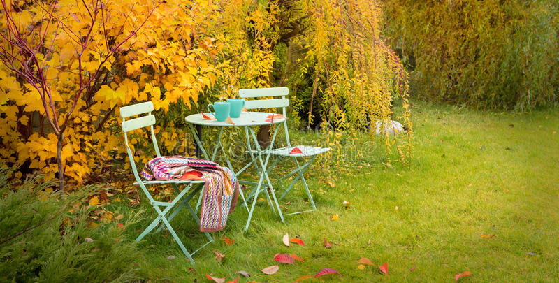 Download Colorful Autumn Garden Nook With Hot Tea And Blanket Stock Image    Image Of Botanical