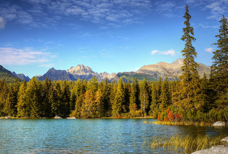 Colorful Autumn Lake Landscape Mountains royalty free stock image
