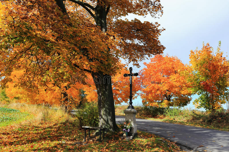 Download Colorful Autumn Landscape With Crucifix And Blue Sky Stock Image - Image: 34455199