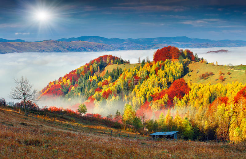 Colorful autumn landscape in the mountain village. Foggy morning. In the Carpathian mountains. Sokilsky ridge, Ukraine, Europe royalty free stock image