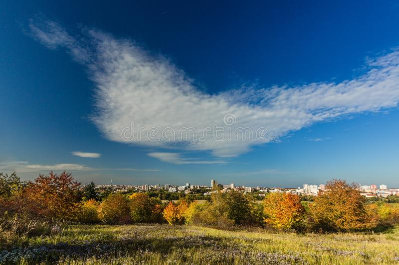 Colorful autumn landscape and Prague city royalty free stock image