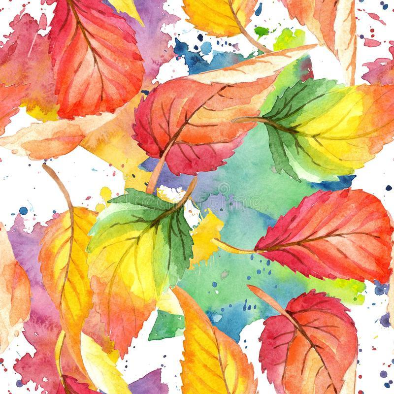 Colorful watercolor autumn leaves. Leaf plant botanical garden floral foliage. Seamless background pattern. stock illustration