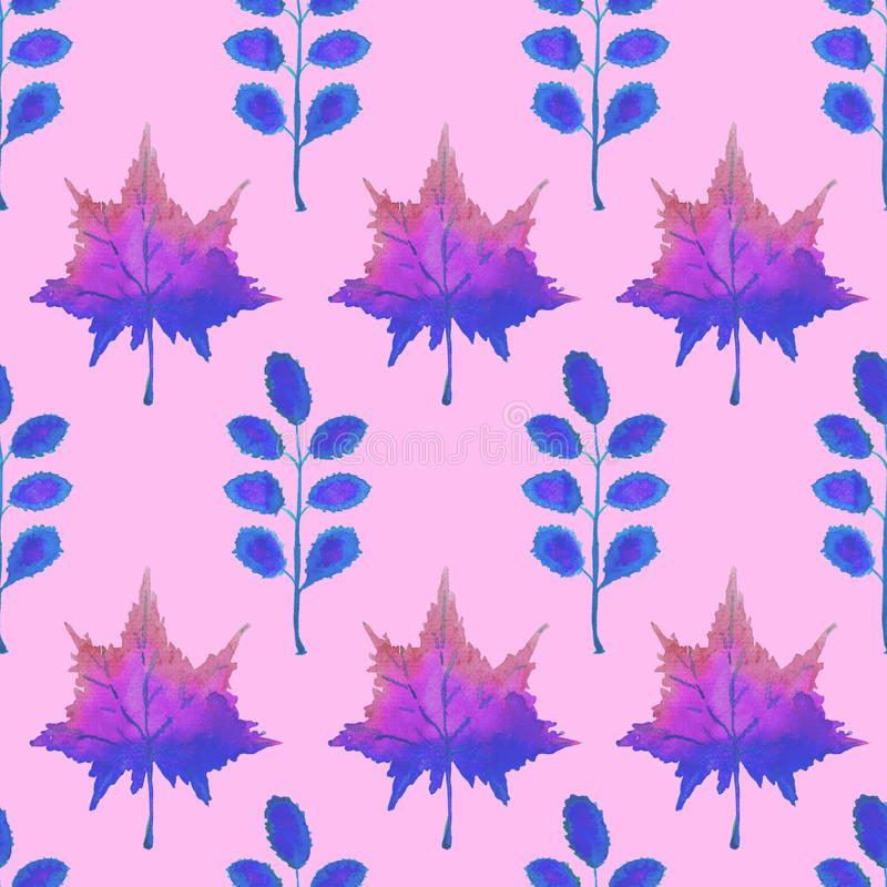Colorful autumn maple and acacia leaves, hand painted watercolor illustration in blue purple colors palette, seamless pattern. On pink background stock illustration