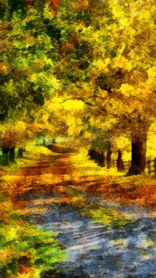 Colorful autumn road in holiday fall watercolor painting wallpaper background. Beautiful, colorful autumn road in holiday fall watercolor painting wallpaper stock illustration