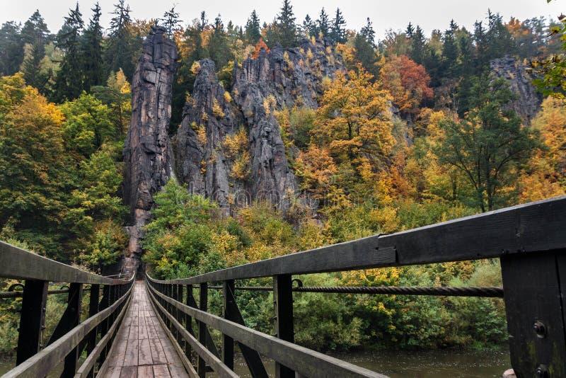 Colorful autumn rock massif stock image