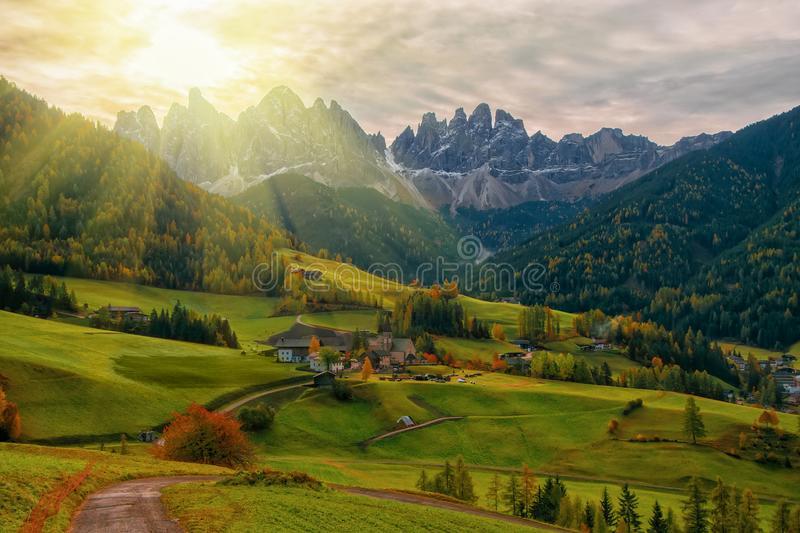 Colorful autumn scenery in Santa Maddalena village at sunrise. Dolomite Alps, South Tyrol, Italy. royalty free stock photography