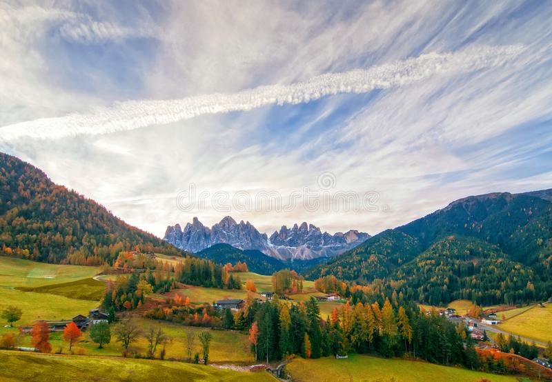 Colorful autumn scenery in Santa Maddalena village at sunny day. Dolomite Alps, South Tyrol, Italy stock images
