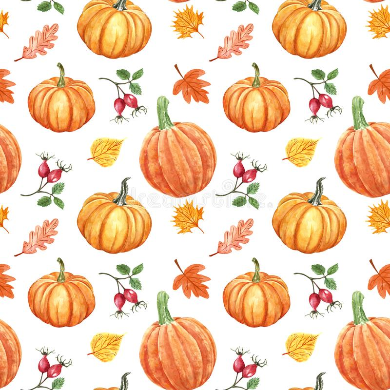 Colorful autumn seamless pattern. Watercolor hand painted pumkins, orange, red and yellow leaves and berries on white background. Watercolor autumn seamless royalty free illustration