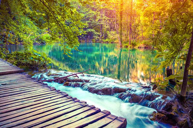 Colorful autumn sunrise in the Plitvice Lakes National Park. royalty free stock image