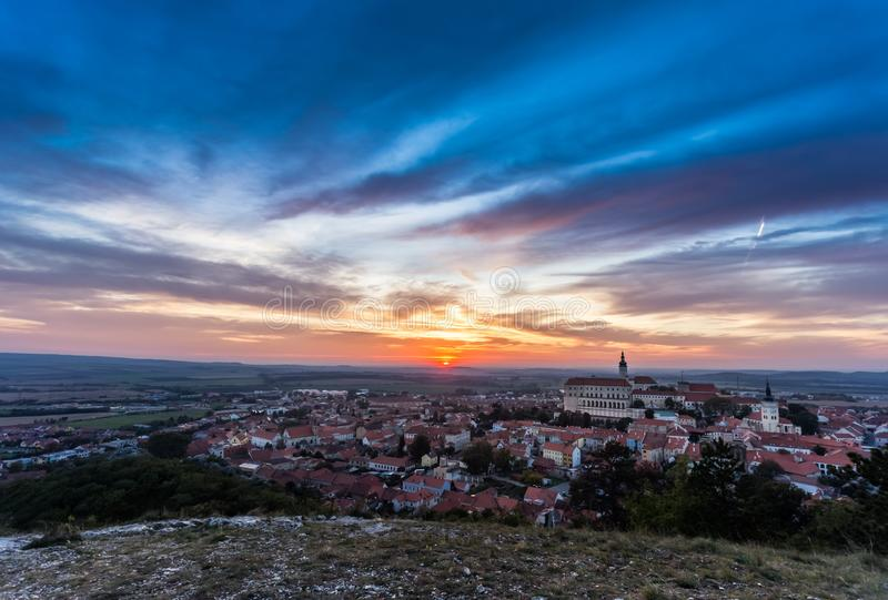 Colorful autumn Sunset over the Mikulov city, Moravia, Czech Republic royalty free stock photography
