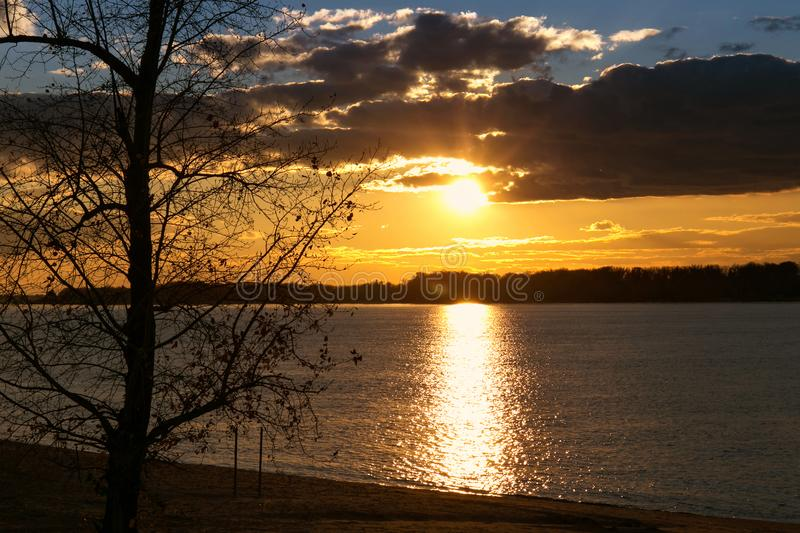 Colorful autumn sunset over the Volga River. Samara, Russia royalty free stock images