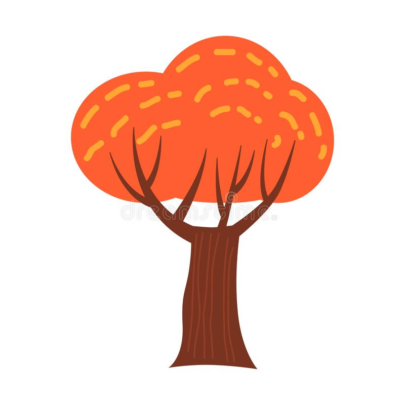 Colorful autumn tree. Cartoon yellow, orange, red fall tree for city park and forest landscape background vector. Colorful autumn tree. Cartoon yellow, orange stock illustration