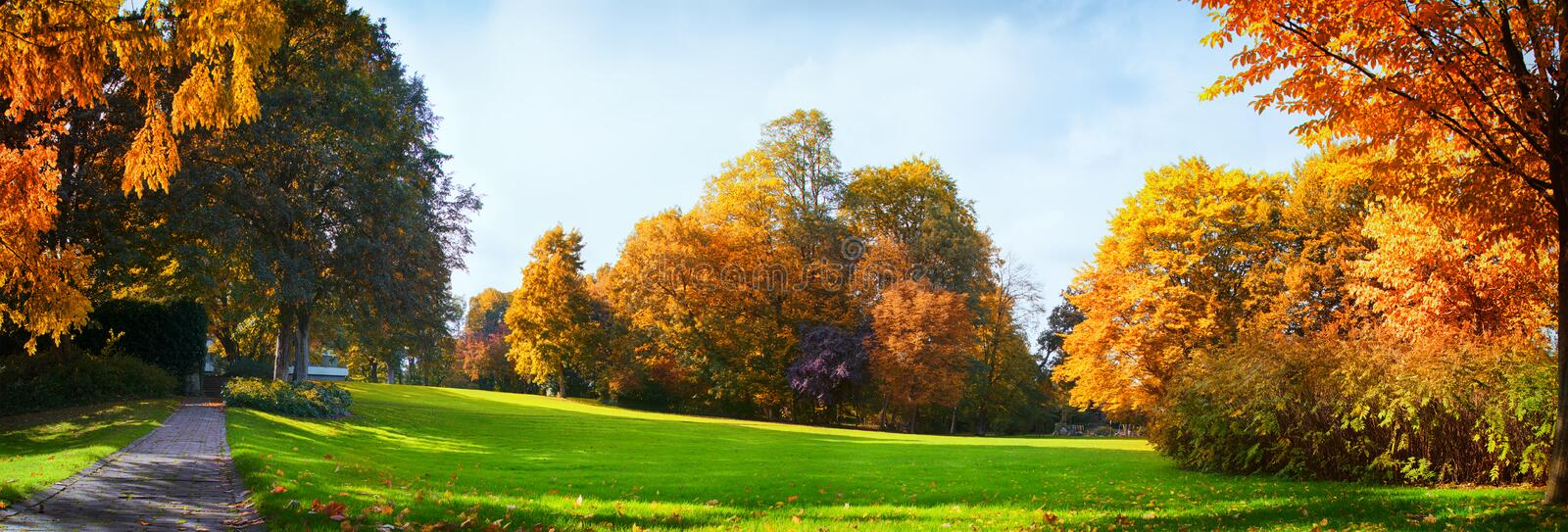 Colorful Autumn Trees And Blue Cloudy Sky - Seasonal Park Without Any People stock photos