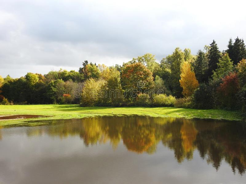 Colorful autumn trees and flood meadow, Lithuania stock image