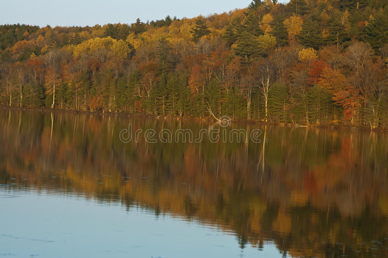Colorful autumn trees reflected in a Maine lake stock photos
