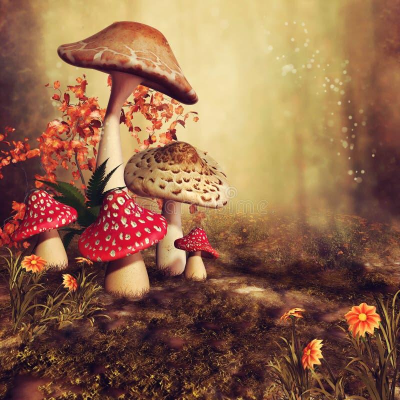 Colorful autumnal mushrooms royalty free illustration