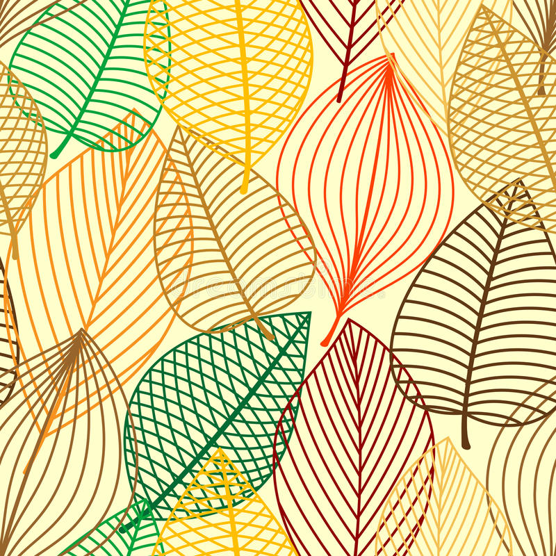 Colorful autumnal outline leaves seamless pattern vector illustration