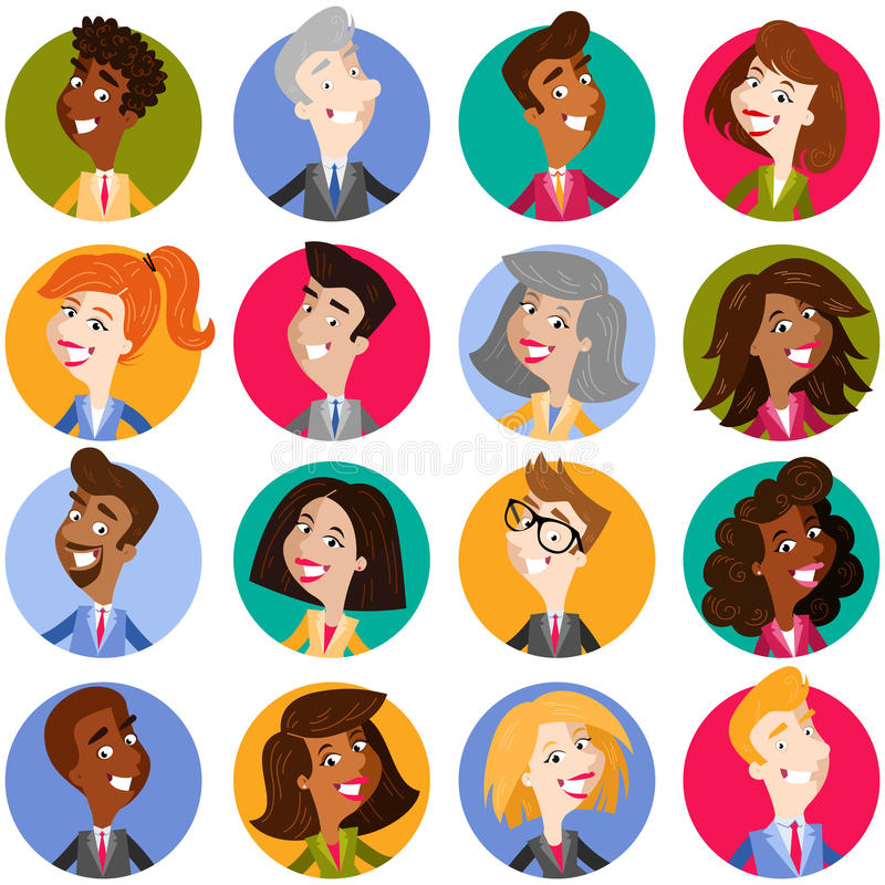 Colorful avatar icons of multicultural and multinational cartoon business people stock illustration