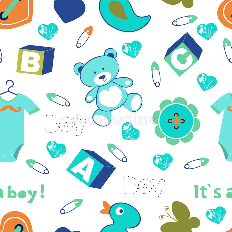 Colorful baby boy seamless pattern royalty free illustration