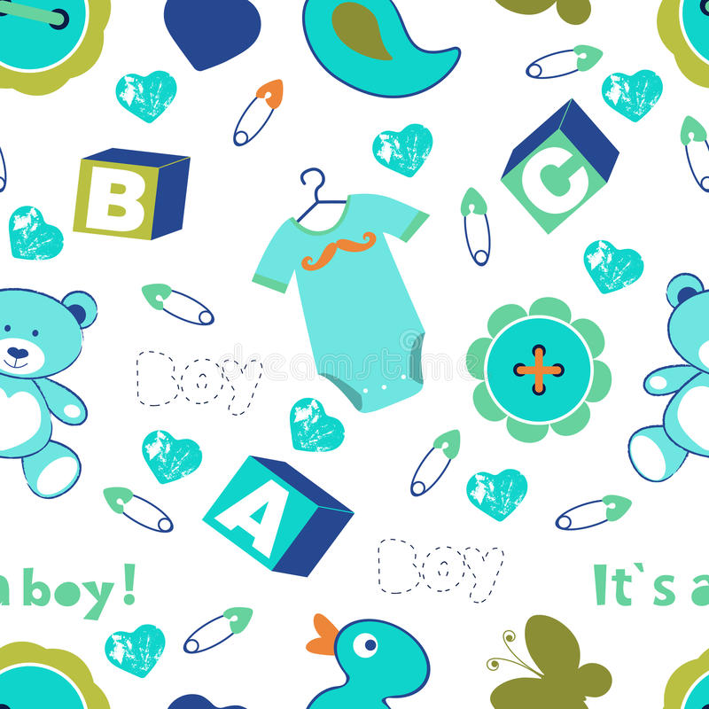 Colorful baby boy seamless pattern vector illustration