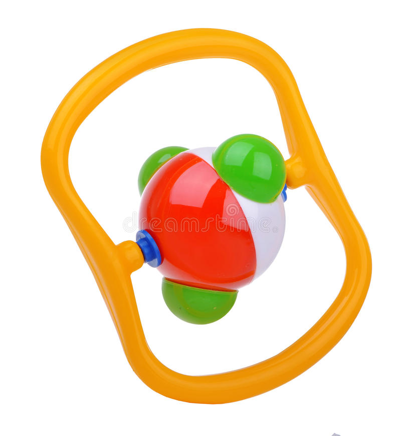Colorful baby molecule rattle stock photo