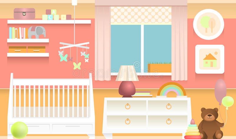 Colorful baby room. Bright and colorful interior of baby room vector illustration