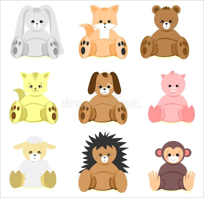 Colorful Baby Shower Animal Toys Set vector illustration