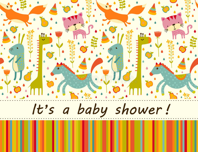Colorful Baby shower background. Happy birthday greeting card or invitation. Colorful Baby shower background with cat, fox, giraffe, horse and rabbit. Happy vector illustration